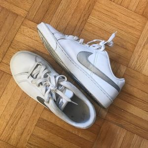 SOLDNike Court Royale White and Silver Sneakers